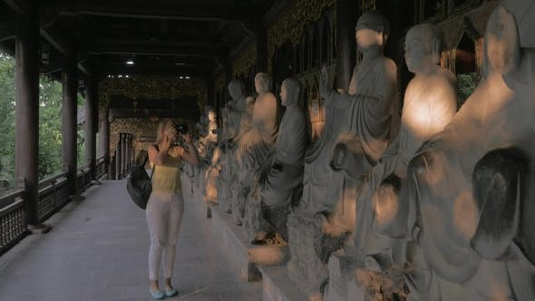 Thumbnail for Woman Taking Photos Of Statues In Bai Dinh Pagoda, Vietnam