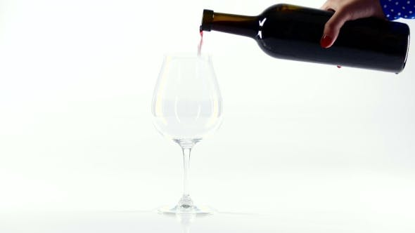 Thumbnail for Person Pour Red Wine Into a Glass, White