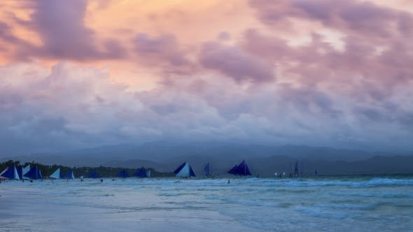 Cover Image for Amazing Colorful Sunset At Sea. Sailboats. White Beach, Boracay, Philippines