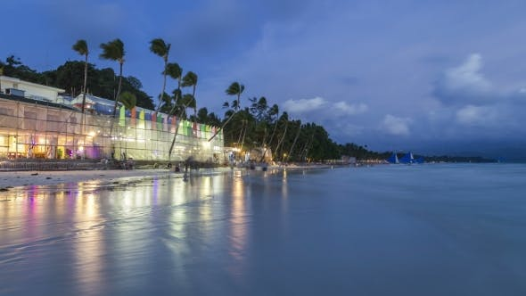 Thumbnail for White Beach In Island Boracay After Sunset Boracay, Philippines