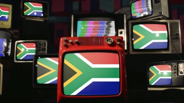 South African flags and Retro Televisions.