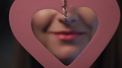 Beautiful Sexy Pink Lips Giving Kiss
