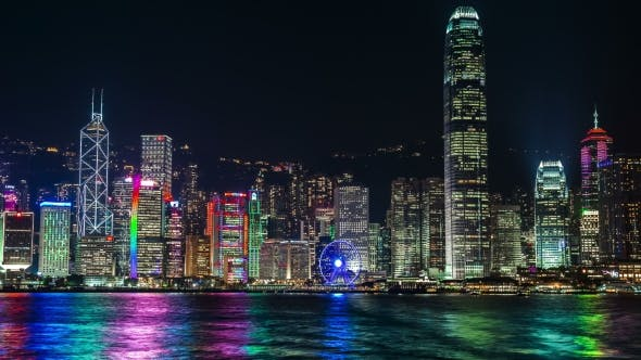 Cover Image for Hong Kong Victoria Harbour Cityscape At Night.   - August 2016, Hong Kong