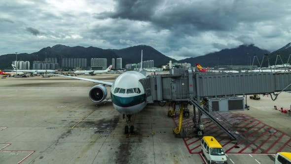 Cover Image for Airplane Boeing Ready For Boarding In Hong Kong Airport.   - August 2016, Hong Kong