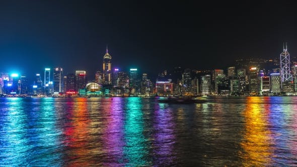 Cover Image for Hong Kong Victoria Harbour Skyline At Night.   - August 2016, Hong Kong