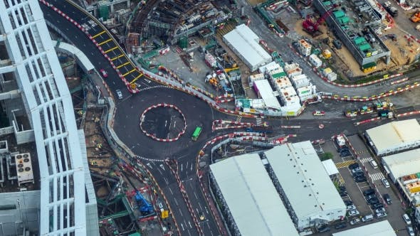 Cover Image for Crossroads In Hong-Kong With Cars And People, Aerial View.   - August 2016, Hong Kong