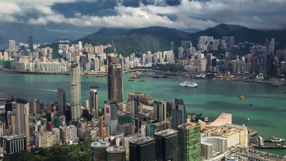 Cover Image for Aerial View Of Hong Kong Island From Sky100.   - August 2016, Hong Kong