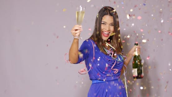 Thumbnail for Sexy Young Woman Celebrating New Year