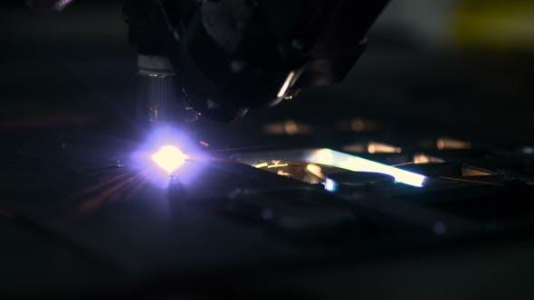 Thumbnail for Plasma Laser Cutting Metal Sheet With Sparks