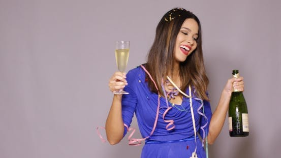 Thumbnail for Young Woman Partying As She Celebrates New Year