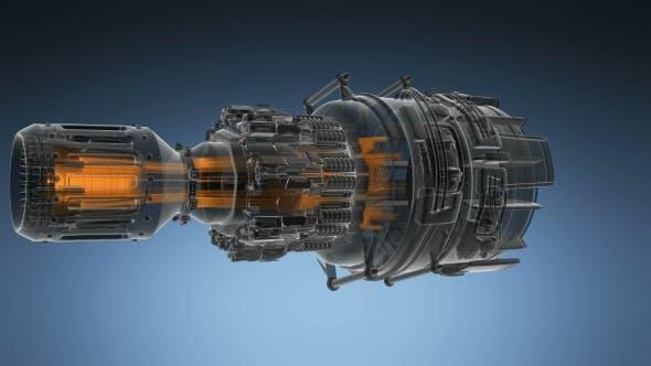 Thumbnail for Loop Rotate Jet Engine Turbine