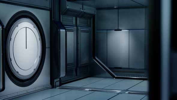 3D Rendering of Realistic Sci-fi Spaceship Corridor