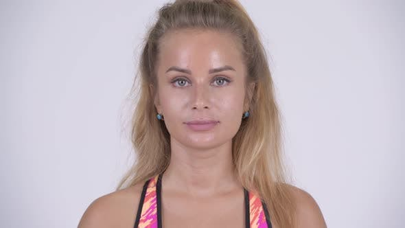 Thumbnail for Face of Happy Young Beautiful Blonde Woman Smiling Ready for Gym