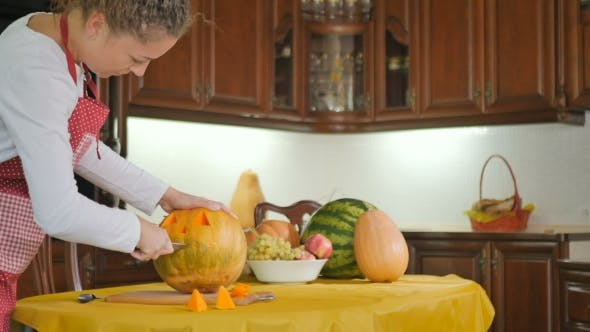Thumbnail for Young Girl Prepare The Pumpkin On The Halloween