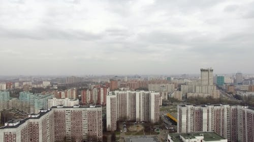 Moscow Cityscape With Residential Area, Aerial View