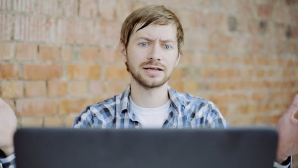 Thumbnail for Young Man in Front of the Laptop in Anger