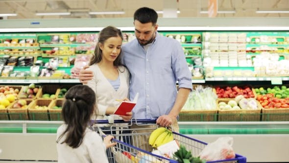 Thumbnail for Family With Food In Shopping Cart At Grocery Store 8