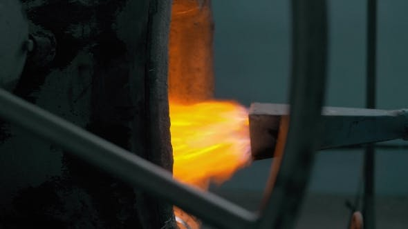 Thumbnail for Hot Steel Burned By Modern Burner. Red Hot Metal With Fire