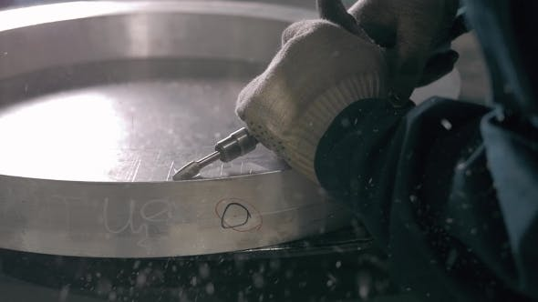 Thumbnail for Industrial Engineer Working On Cutting a Metal And Steel Bar With Angle Grinder, Metallurgic Factory