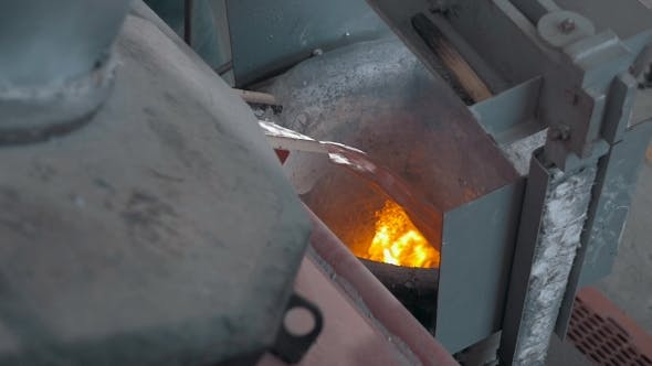 Thumbnail for Pouring Of Liquid Metal In Open Hearth Workshop, Melted Aluminum