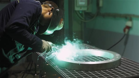 Thumbnail for Welder Industrial Automotive Part In Factory, Hot Metal Welding On Modern Workshop