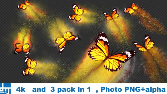Yellow Butterfly Dynamic Flying Particle Tail