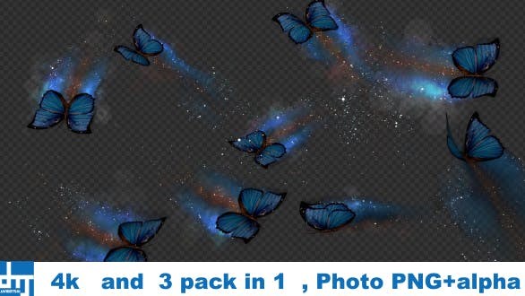 Blue Butterfly Dynamic Flying Particle Tail