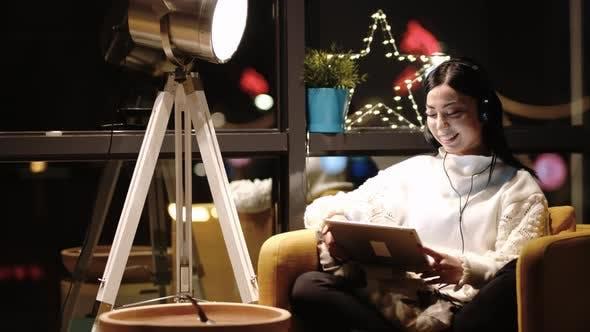Businesswoman Video Chatting Online