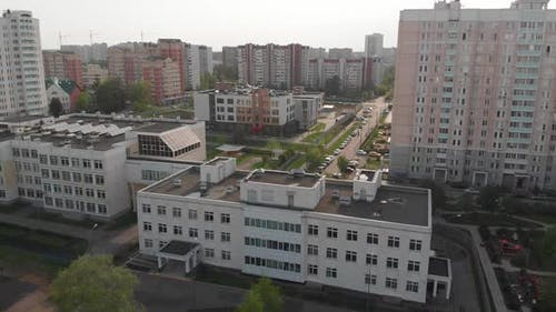 Movement of Moscow Overlooking Houses and School, Russia