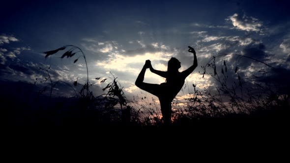 Thumbnail for Silhouette Against Sunset of One Young Graceful