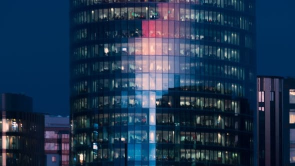 Thumbnail for Beautiful Timelapse Of The Office Building Skyscraper From Day To Night