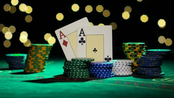 Thumbnail for Combination Of Poker. Pair Of Aces. White Ball Falling Into a Roulette Table.