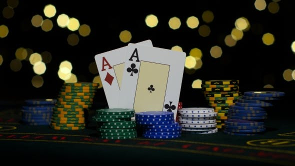 Thumbnail for Good Card Combination, One Pair Of Aces, Poker Game On Gamblimg Table.