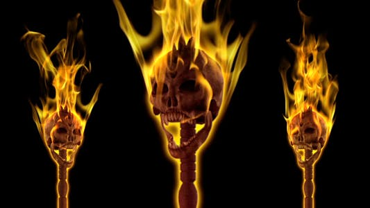 Thumbnail for Burning Skull Torch - Pole and Gate - I - Angle - Pack of 2