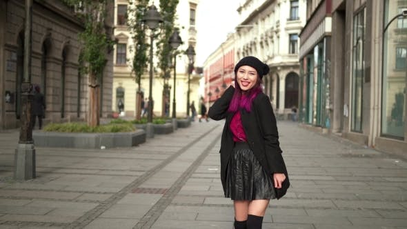 Thumbnail for Young Girl In Autumn Fashion Walking The City