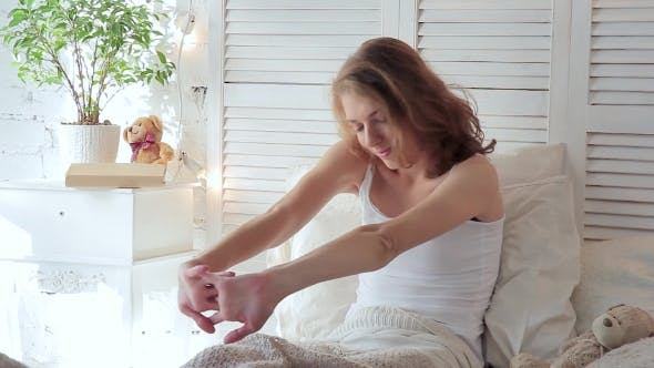 Thumbnail for Morning Of Young Attractive Woman. She Woke Up And Stretching After Sleeping