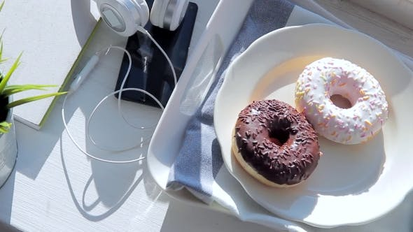 Thumbnail for Breakfast On The Windowsill: Donuts And Coffee With Marshmallow