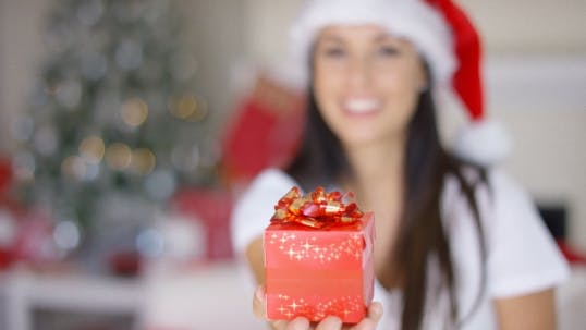 Thumbnail for Decorative Red Christmas Gift With a Bow