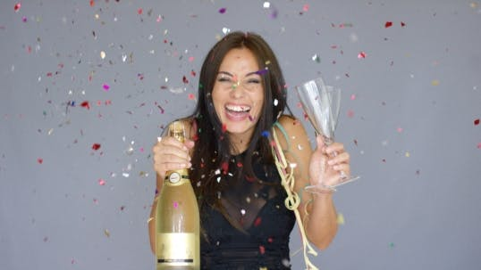 Thumbnail for Laughing Vivacious Woman Celebrating The New Year