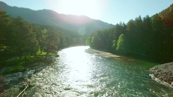 Thumbnail for Aerial View. Low Flight Over Fresh Cold Mountain River At Sunny Summer Morning.