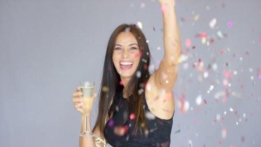Thumbnail for Vivacious Woman Having Fun At a New Year Party