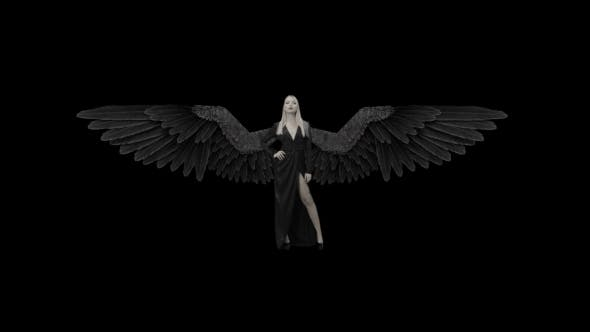 Blonde Girl In a Black Dress And With Wings