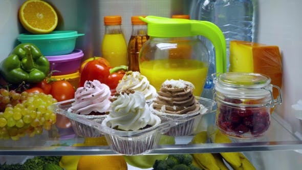 Thumbnail for Sweet Cakes In The Open Refrigerator