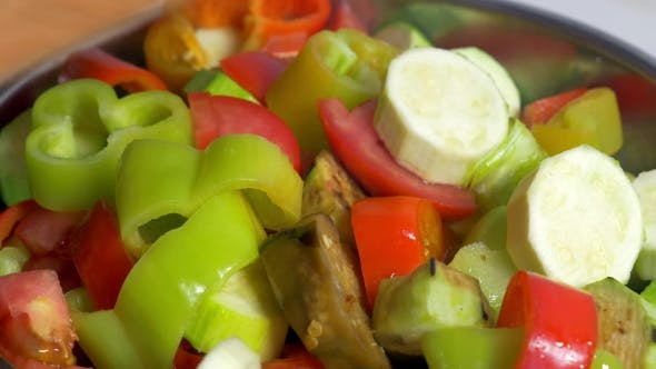 Thumbnail for Adding Cut Vegetables In Salad