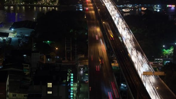 Thumbnail for Night Traffic Across The Bridge, Bangkok