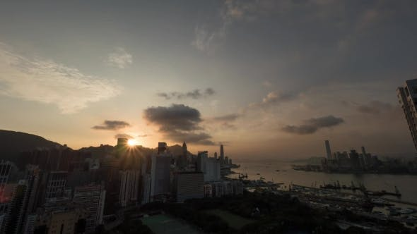 Thumbnail for Sunset And Night Coming To Hong Kong