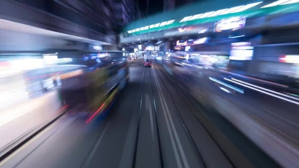Thumbnail for Night Ride By Double-decker Tram In Hong Kong