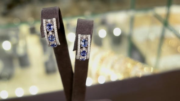 Cover Image for Women Jewelry On a Stand-round Visibility. Earrings With Diamonds On In Storefront At a Jewelry