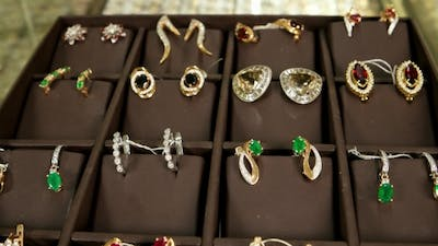 Golden Earrings With Precious Stones, Gold Jewelry For Women