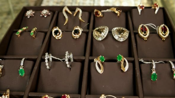 Cover Image for Golden Earrings With Precious Stones, Gold Jewelry For Women